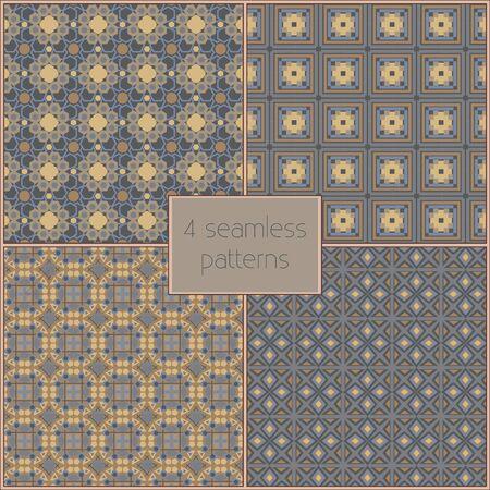 textura: 4 patrones sin fisuras vector diferentes (mosaico). Textura fin se puede utilizar para fondos de escritorio, patrones de relleno, de fondo p�gina web de texturas de superficie. Conjunto de ornamentos geom�tricos.