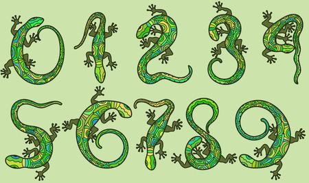 lizard: Set of ten vector numbers like lizards.