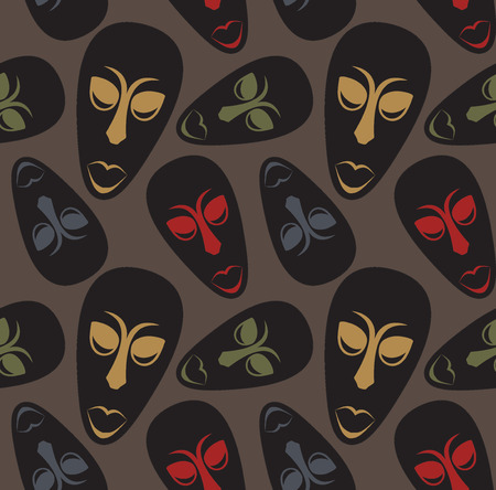 Seamless vector pattern with ethnic african masks