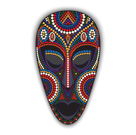 wooden mask: Vector colorful ethnic african mask