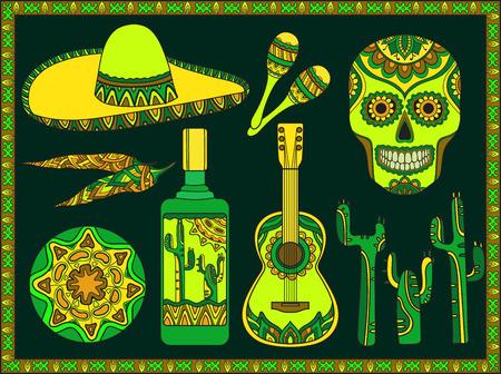 Vector set of traditional mexican symbols: guitar, cactus, tequila, chili pepper, maracas, sombrero, skull