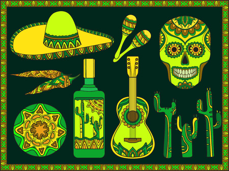 Vector set of traditional mexican symbols: guitar, cactus, tequila, chili pepper, maracas, sombrero, skull Фото со стока - 44881648