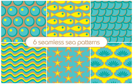 6 different seamless sea patterns (tiling). Vector illustration for abstract aqua design. Endless texture can be used for fills, web page background, surface.
