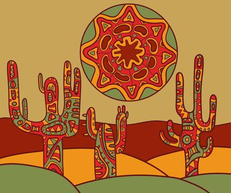 伝統的なメキシコの飾りとベクトルの背景。サボテンと太陽のベクトル図です。  イラスト・ベクター素材