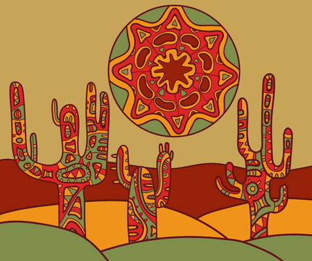Vector background with traditional mexican ornament. Vector illustration of cactus and sun.