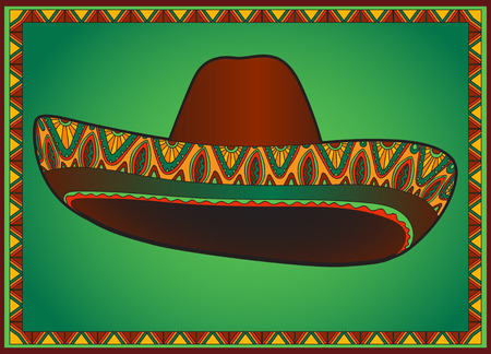 bandits: Vector traditional mexican hat. Vector sombrero with ornament. Illustration