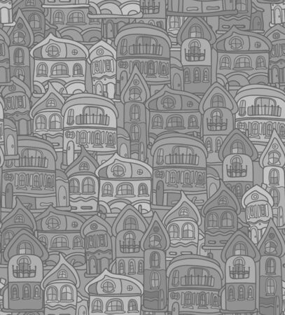 old houses: Seamless pattern with stylized citys old houses