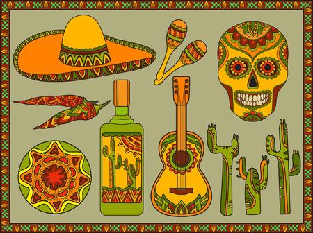 メキシコの伝統的なシンボルの集合をベクトル: ギター、サボテン、テキーラ、唐辛子、マラカス、ソンブレロ、頭蓋骨  イラスト・ベクター素材