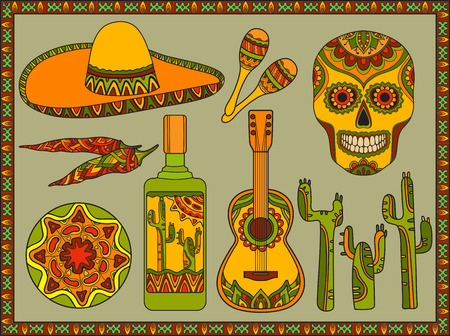 mexican sombrero: Vector set of traditional mexican symbols: guitar, cactus, tequila, chili pepper, maracas, sombrero, skull