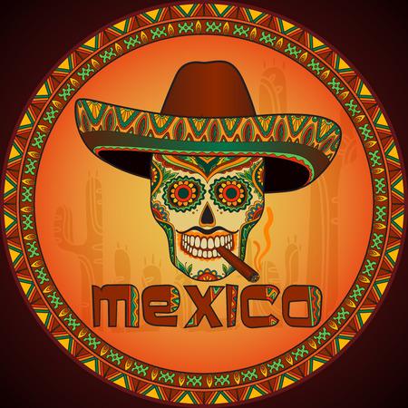 sombrero de charro: Cráneo mexicano tradicional con sombrero. Cráneo del vector en el sombrero mexicano con el cigarro. Ornamento de México