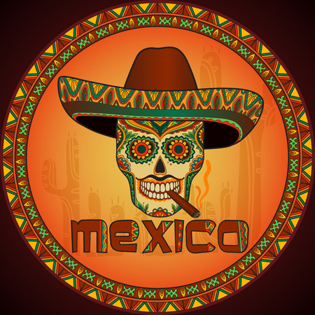 Traditional mexican skull with sombrero. Vector skull in mexican hat with cigar. Mexican ornament
