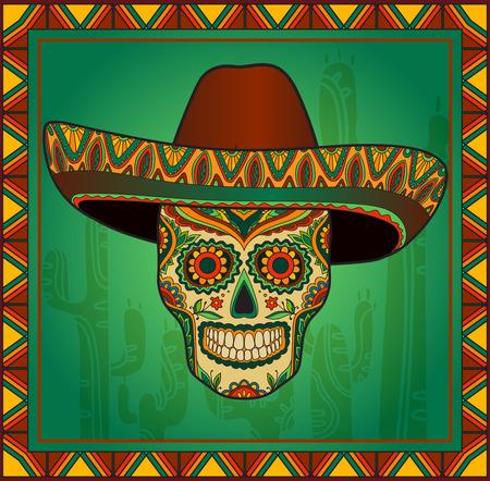 ソンブレロと伝統的なメキシコ スカル。メキシカン ハットでベクトルの頭蓋骨。メキシコの飾り