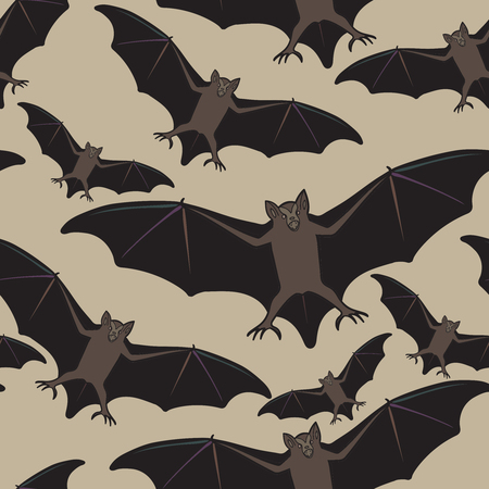 vampire bats: Vector seamless halloween pattern with bat. Repeating abstract background