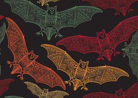 death: Vector seamless halloween pattern with bat .Modern stylish texture. Repeating abstract background Illustration