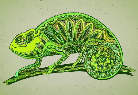 jaszczurka: obraz kolorowy kameleon jaszczurka w stylu graficznego Ilustracja