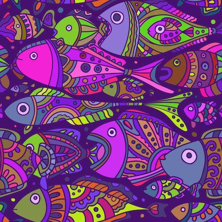 多彩な色の魚がたくさんでシームレスなパターン ベクトル  イラスト・ベクター素材
