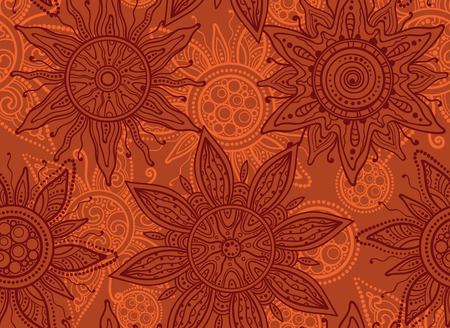 summery: Seamless  vector pattern with traditional indian ornament of the suns
