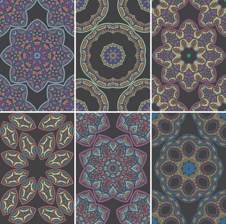 laced: Seamless texture with oriental ornament. Vector set of  six patterns
