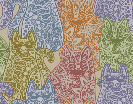 tatting: Seamless vector pattern with funny ornamental cats Illustration
