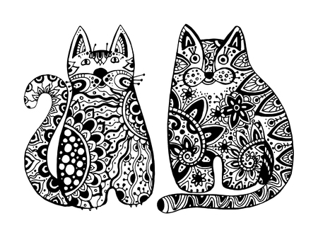 Vector funny graphic cats with floral ornament in tattoo style Illustration