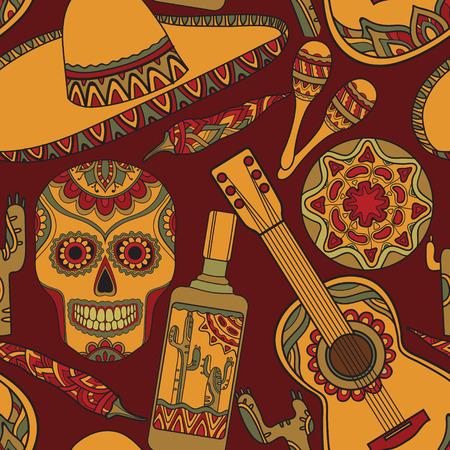 sombrero de charro: Modelo inconsútil del vector con símbolos tradicionales mexicanos: guitarra, cactus, tequila, chile, maracas, Sombrero Vectores