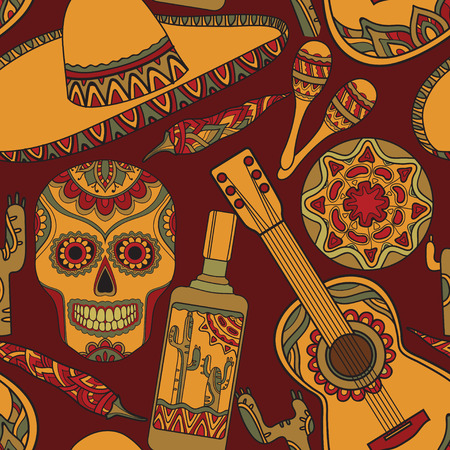 Vector seamless pattern with traditional mexican symbols: guitar, cactus, tequila, chili pepper, maracas, sombrero