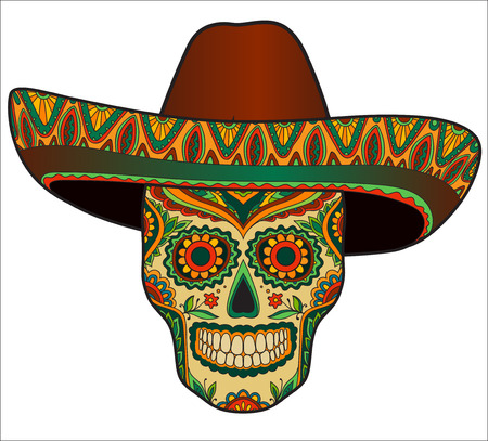 Traditional mexican skull with sombrero. Vector skull in mexican hat. Mexican ornament
