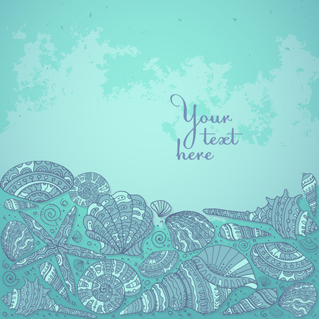 summer background: Vector decorative background with beautiful seashells