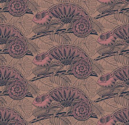 chameleons: Seamless pattern with ornamental chameleons