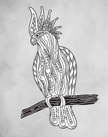 cockatoo: Graphic cockatoo parrot on a branch. Vector illustration