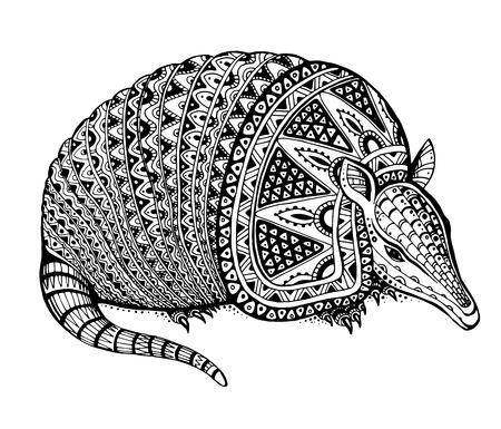 Vector illustratie van een totemdier  tattoo - gordeldier - in grafische zwart-wit stijl