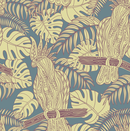 cockatoo: Seamless pattern with graphic cockatoo parrot on a branch with tropical leaves. Vector illustration