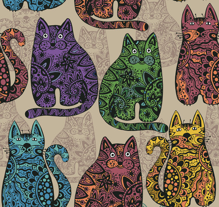 Seamless vector pattern with funny ornamental cats Vettoriali