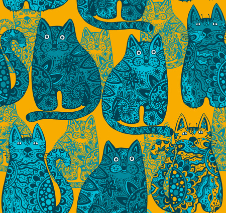 tatoo: Seamless vector pattern with funny ornamental cats Illustration