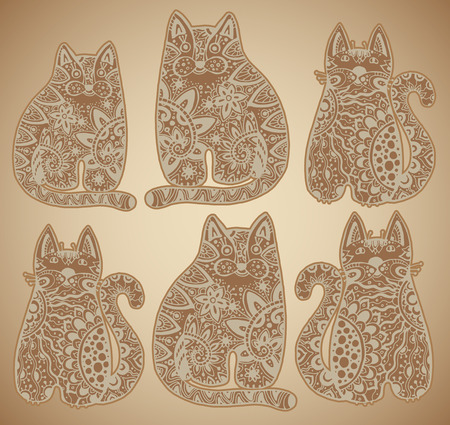 tatting: Vector funny cats with floral ornament Illustration
