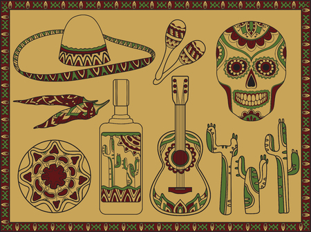 latinoamerica: Vector set of traditional mexican symbols: guitar, cactus, tequila, chili pepper, maracas, sombrero, scull