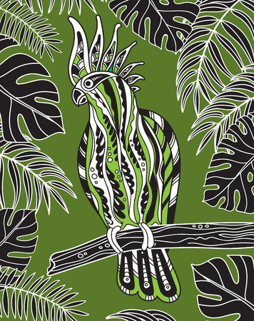 cockatoo: Graphic cockatoo parrot on a branch with tropical leaves. Vector illustration