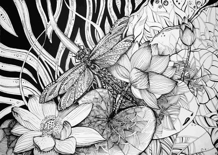 蓮とトンボと背景の美しい画像。ベクトルの図。