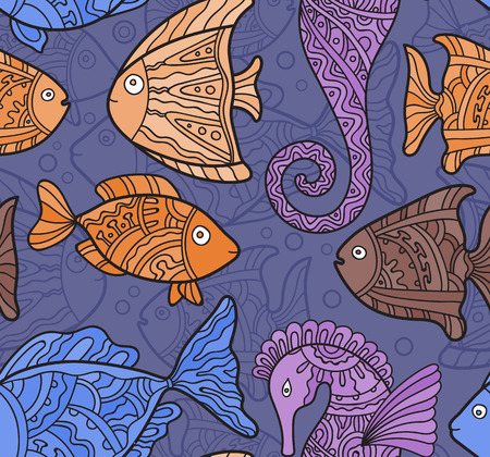 seahorse: Vector Ornate Sea Seamless Pattern with fishes, seahorses and water-plants