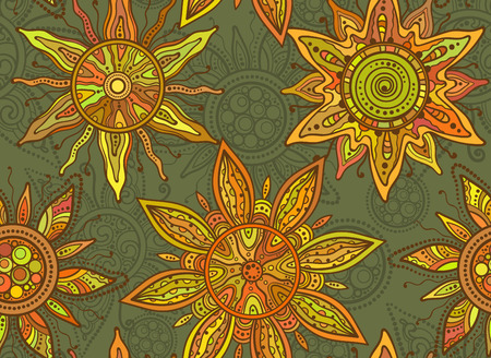 suns: Seamless  vector pattern with traditional indian ornament of the suns