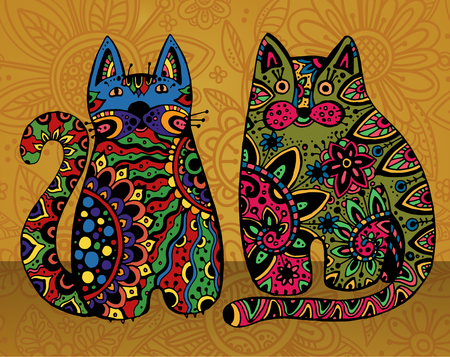 funny cats: Vector funny cats with floral ornament Illustration
