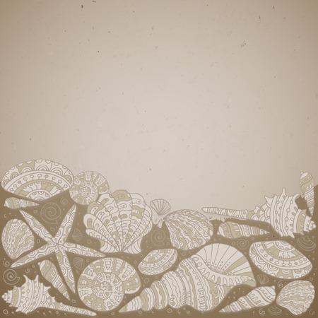きれいな貝殻とベクトル装飾的な背景