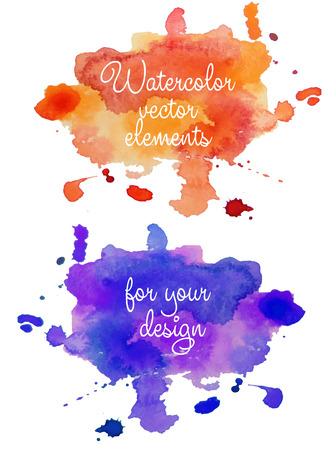 抽象的な水彩手描きの背景を別の色で。多色の水彩スプラッシュ。