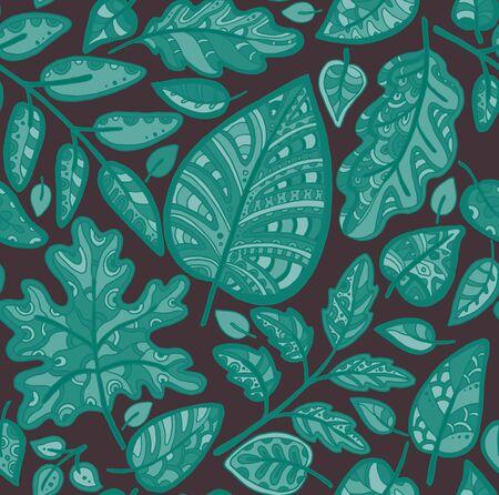 Decorativo sin fisuras patrón ornamental. Textura elegante sin fin con hojas. Plantilla para la tela de diseño, fondos, papel de regalo, paquete, cubiertas