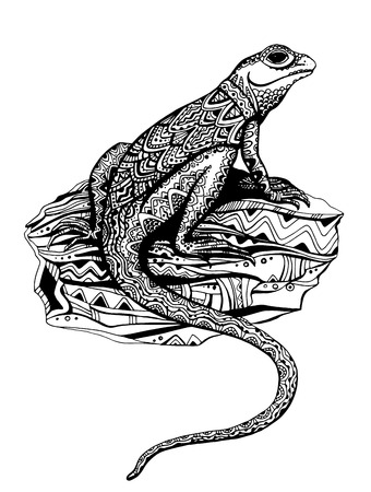 lizard: Ornate lizard with ethnic pattern in black and white graphic tattoo style