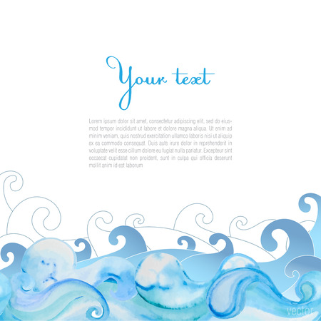 Vector watercolor sea waves background. Blue waves on white background. There is place for your text.