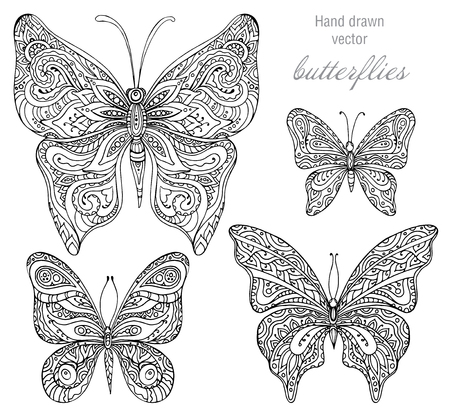 Vector set of black and white ornamental  butterflies isolated on white background.