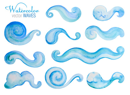 Vector set or watercolor sea waves. Hand drawn elements for your design.  イラスト・ベクター素材