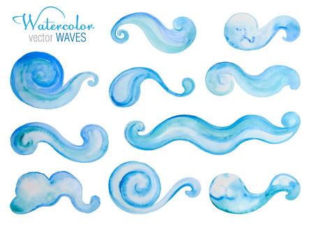 設定または水彩画の海の波をベクトルします。あなたのデザインの要素に手描き。  イラスト・ベクター素材
