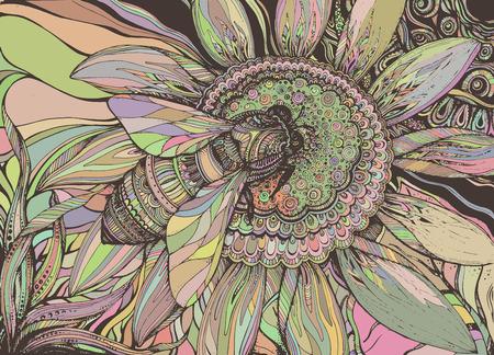 flor: Vector de fondo hermoso con la abeja gráfico en la flor con un montón de detalles